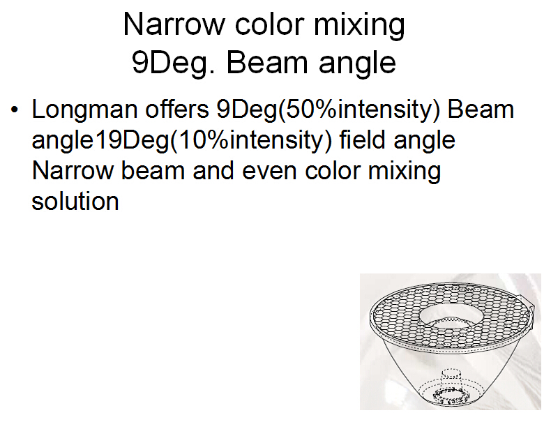 9 degree narrow color mixing solution