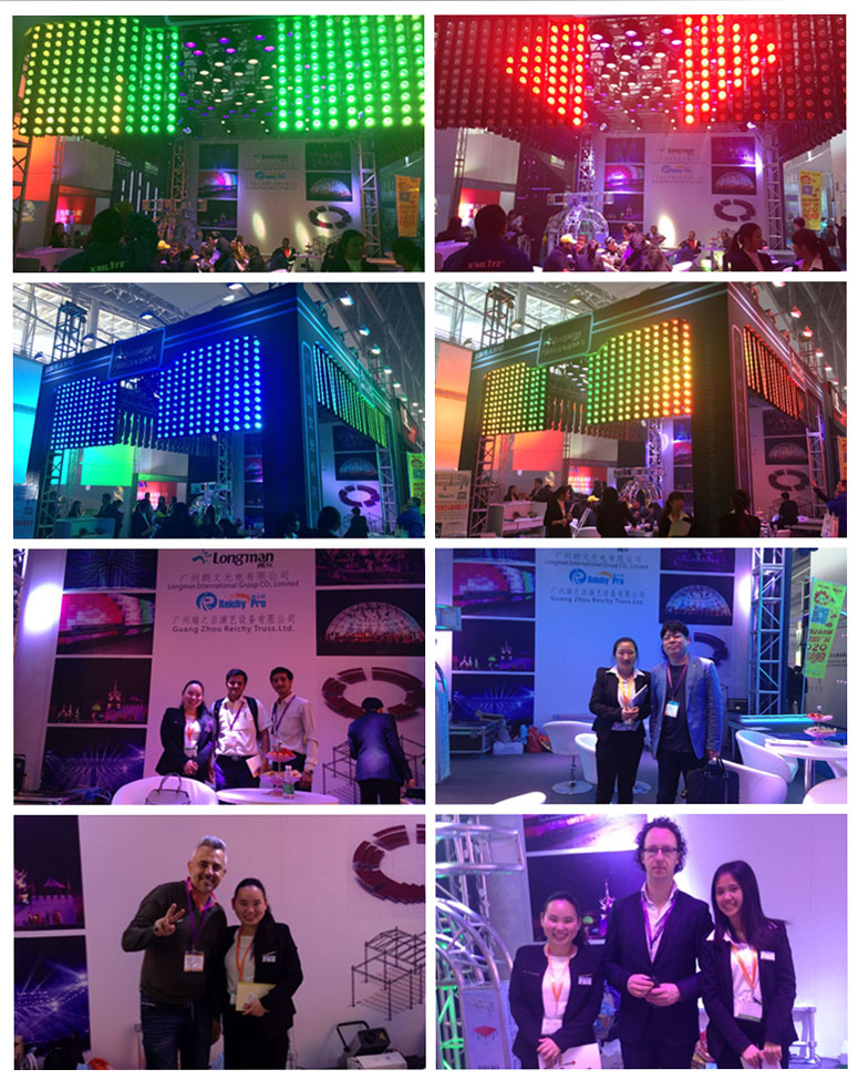 Pixel led stage light, wall washer, led par light, moving head light shown in the exhibition